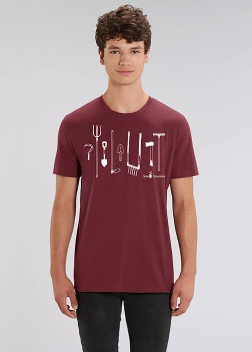 """T-shirts Terre & Humanisme """"Outils de jardin"""" - sérigraphie artisanale par La Vitrine Flow"""